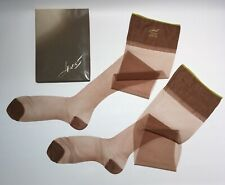 "2 Prs Hanes 115L Vintage Nylon Stockings 10.5 Long x 34"" Sheer Rht Fancy Welt"