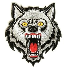 Grey Wolf Patch Embroidered Iron On Sew On Biker Skater Werewolf Halloween