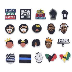 US Stock 50pcs Black Lives Matter Shoe Charms Fist PVC Decorations fit Sandals