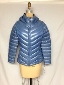 Calvin Klein Packable Down-Filled Hooded Puffer Jacket CW812537 Small Blue