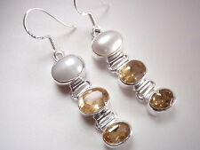 Faceted Citrine & Cultured Pearl Triple-Gem 925 Sterling Silver Dangle Earrings