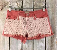 Roxy Denim SZ 7/28 Shorts Doily Dukes Cut Off Pink/White Lace Overlay Stretch