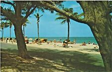 Beautiful Sandy Beach of Hollywood, Florida - Sunbathers and Cabanas in 1950's