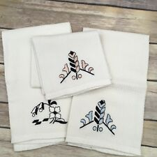VINTAGE SET OF 3 CREAM OFF WHITE FLORAL EMBROIDERED KITCHEN HAND TOWELS