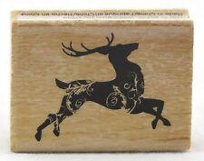 Dancing Reindeer Wood Mounted Rubber Stamp Hot Fudge Studios NEW holiday tag art