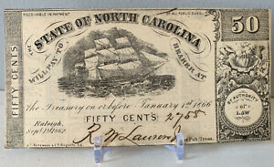 2 1862 Raleigh NC 50c Consecutive Numbered Notes Confederate Bills #2758,2759