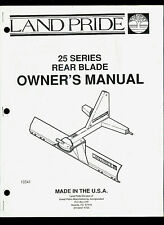 Land Pride 25 Series Rear Blade Illustrated Parts List Amp Owners Manual