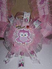 Baby Shower Corsage cute OWL Girl - Pink RIBBON FAVOR HANDMADE
