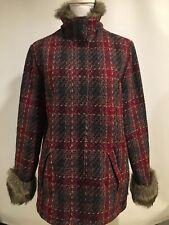 WOOLRICH Women's Size M Wool Blend Jacket Ruby Red Plaid 15420 Fur Trim