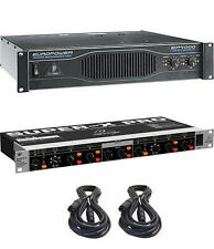 Behringer EP4000 Power Amplifier Amp + CX2310 2/3-Way Crossover + 2X XLR-Cables