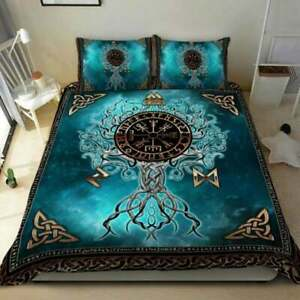 Viking Runes Tree Of Life 3D Quilt Set - Perfect Gift For Family