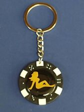 NUDE LADY GIRL LOGO POKER CHIP DICE KEYRING KEY RING CHAIN #173