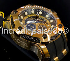 Invicta Men BOLT CHRONOGRAPH 18Kt Gold Black Dial PU Strap 52mm Nautical Watch