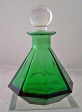Vintage Kelly Green Italian Perfume Bottle Fancy Ground Glass Stopper