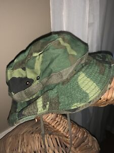 Army Beach Sun Protect Made In USA Camouflage Sz Small Pull Chin Strap ❤️tb11j3