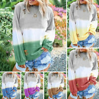 Women Long Sleeve Pullover Casual Blouse Loose Baggy Jumper Shirt Top Sweatshirt