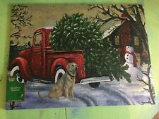 NEW Christmas Vintage Red Truck Outdoor Kitchen Mat Rug Cute!