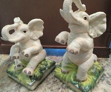 """New listing Vintage Pair of Fitz & Floyd Elephant Ceramic Bookends """"Cape Town"""""""