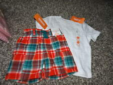 NWT NEW GYMBOREE 12-18 PLAID SHORTS WHITE SHIRT SET SCUBA SHARK