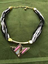 MICHAELA FREY WILLE Necklace Enamel Pendant Silk Cord Vintage