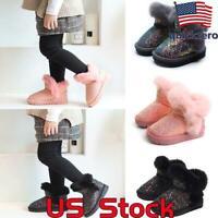 Kids Winter Warm Faux Fur Lined Snow Boots Girls Sequins Princess Glitter Shoes