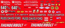 Gas Rhonda 1964 Ford Thunderbolt Russ Davis Ford 1/64th HO Scale Slot Car Decals
