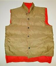 STEARNS khaki orange reversable Hunting Puffer GOOSE DOWN Winter VEST sz L