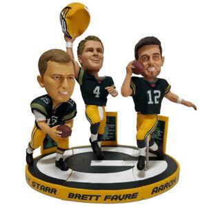 Green Bay Packers Triple QB Bobblehead Set Aaron Rodgers Brett Favre Bart Starr