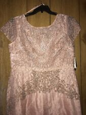 Adrianna Papell Rose Gold Mother of the Bride Groom Formal Beaded Gown 16 NWT