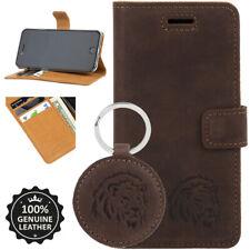SURAZO® Premium Echtes Ledertasche Handyhülle Case Cover Nussbraun mit LÖWE