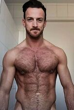 Shirtless Male Muscular Beefcake Pierced Nipples Hairy Chest Guy PHOTO 4X6 D1081