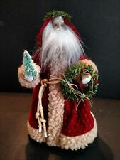 """Vtg Porcelain Velvet Christmas Santa Claus Tree Topper Old St Nicholas 10.5"""""""