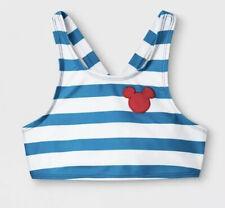 Junk Food Girls Disney Mickey Mouse Blue Striped Bikini Top *Girls' Large