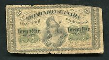 "1870 25 TWENTY FIVE CENTS DOMINION OF CANADA BANKNOTE ""SHINPLASTER"""