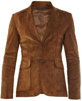 Brown Leather Blazer Men Pure Suede Coat Jacket 2 Button Size S M L XL XXL