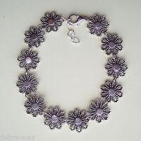 Pretty Openwork Flower Silver Daisy Chain Bracelet in Gift Bag