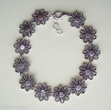 Pretty Openwork Flower Silver Daisy Chain Bracelet in Gift Bag