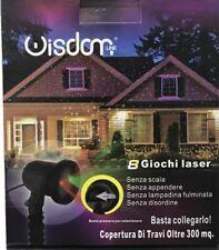 Wisdom Proiettore Luci Laser di Natale per esterno con 8 Giochi Rosso Verde Ip65