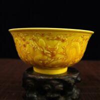 "6.2"" Collect Chinese Porcelain Yellow Glaze Rilievo Cloud Dragon Big Bowl"