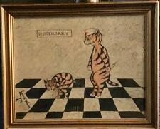 Louis Wain Framed Signed Painting Vintage Dispensary 29 x 24cm