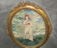 beautiful vintage needlepoint Gainsborough Pink Girl oval frame