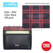 Royal Tartan Genuine Leather Ladies Wallet Medium Size Clutch Purse Black