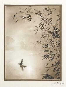Don Hong Oai -Original Signed Photograph -Calm Asian Scene w/ Boatman on Water