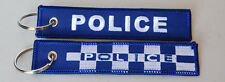 POLICE WOVEN CLOTH KEYRING / HOLDER  SIZE 125MM X 25MM WITH SPLIT RING LAW