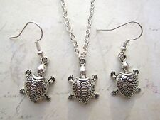 Vintage Cute Silver Plated Tortoise Earrings & Necklace Set New Kitsch