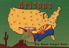 Oversized State Map of Arizona, USA Map, Big AZ, Grand Canyon --- 5 x 7 Postcard