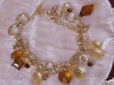 GLD-FINE TOGGLE BRACELET WITH  CRYSTAL & BEAD CHARMS