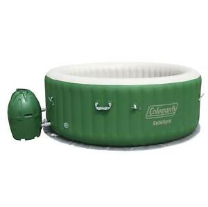 Coleman SaluSpa 6 Person Round Portable Inflatable Outdoor Hot Tub Spa, Green