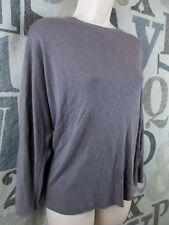 Saint Tropez West Gun Metal Gray Long Sleeve Knit Top Women XL Cotton Blend