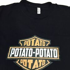 Harley Davidson T Shirt Potato Bar And Shield Black Large American Apparel